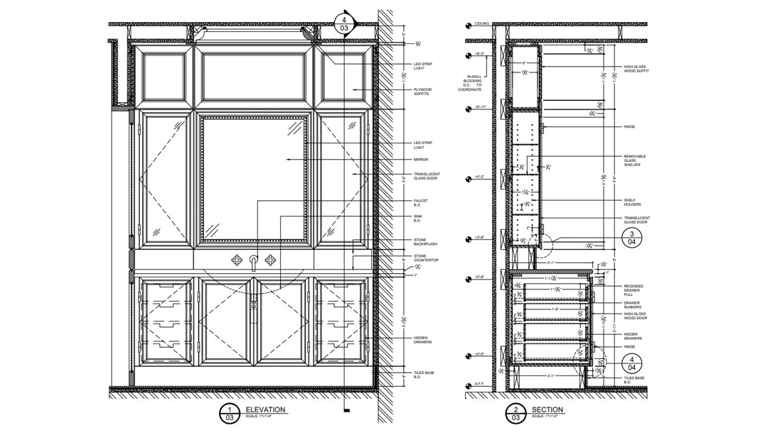 Millwork Shop Drawings for a Cupboard