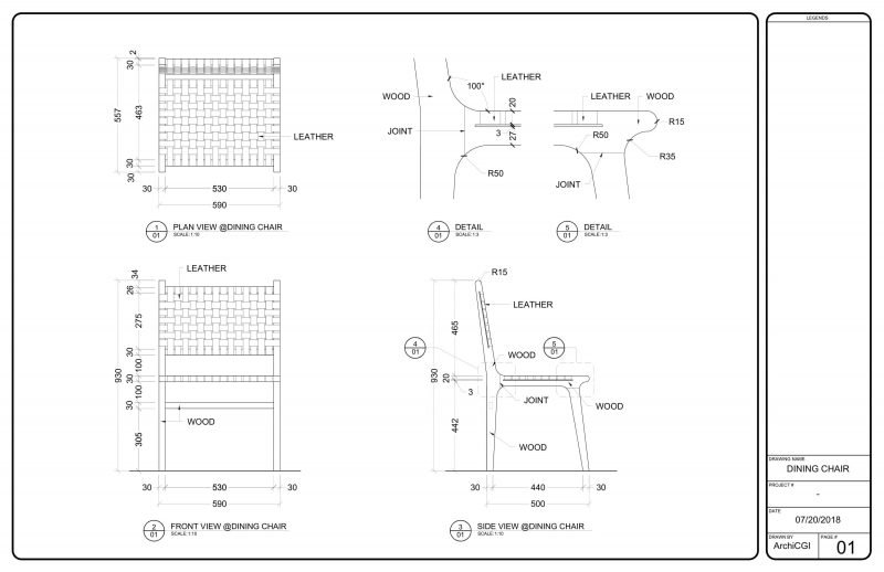 Detailed Millwork Drawings for Leather Chair