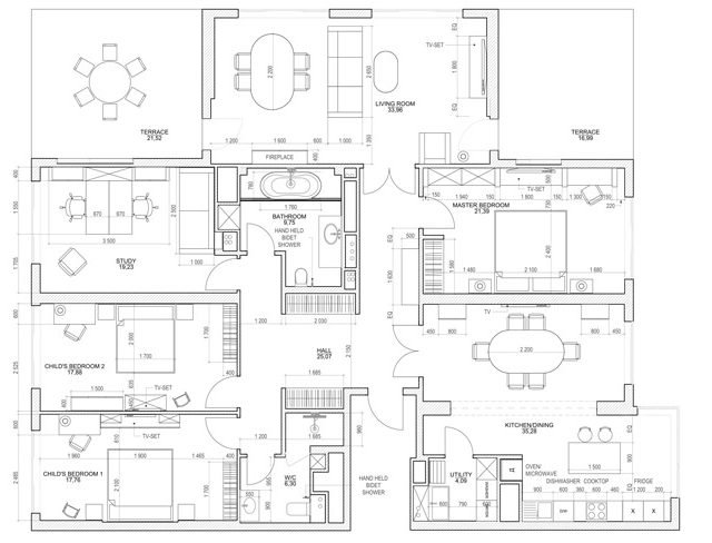 Architectural Floor Plan Drawing for Interior Design