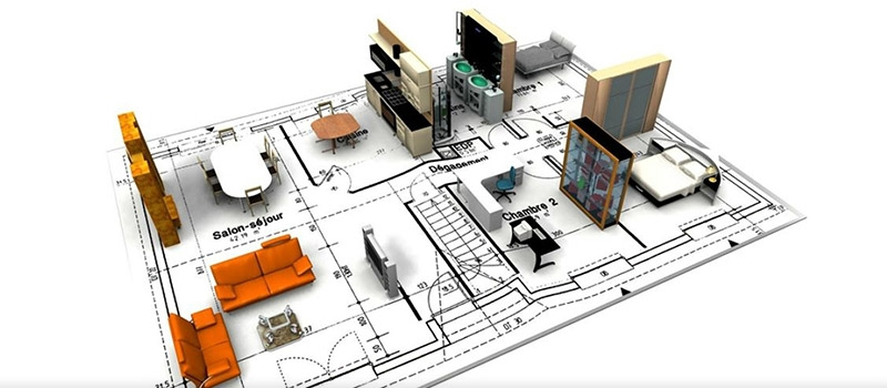Floor Plan Drawings with Millwork Items Visualized as 3D Models