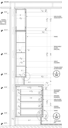 Cross Section Draftings Example for a Millwork Project