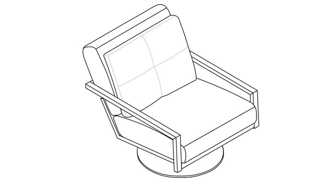 Chair Isometric View for a Millwork Project