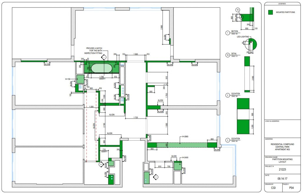 Partition Mounting Scheme for a Residential Design Project
