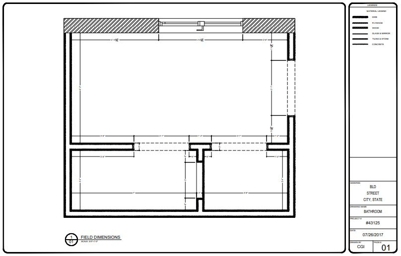 Field Dimensions for a Bathroom