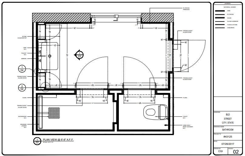 Plan View for a Bathroom