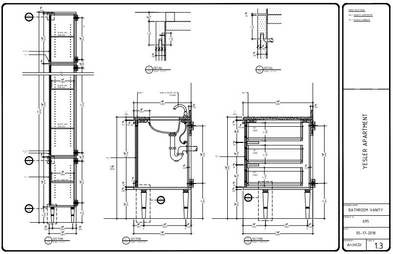 Plan Section for a Bathroom Furniture Project