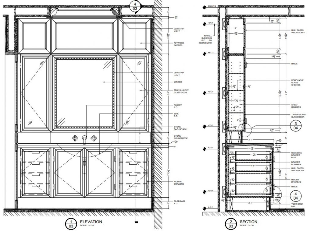 Casework Shop Drawing for Bathroom Racks