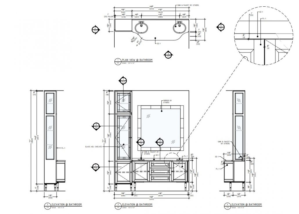 Casework Shop Drawing for a Bathroom Vanity