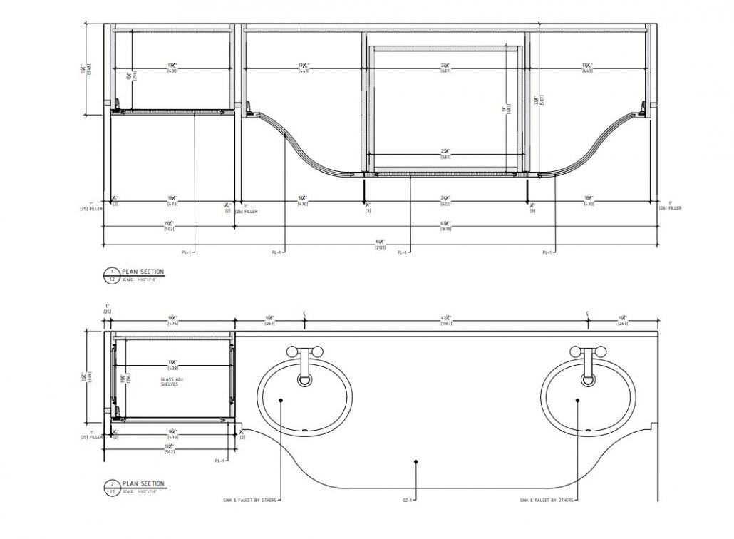Millwork Shop Drawing for a Bathroom Furniture Project