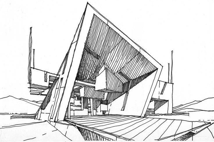 A Sketch for an Architectural Project by a Drafter