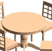 Table and Chairs Revit Families for a Design Project