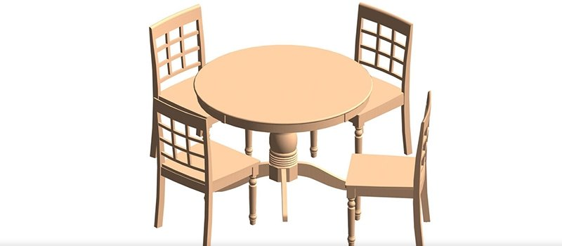 Table and Chairs Revit Families