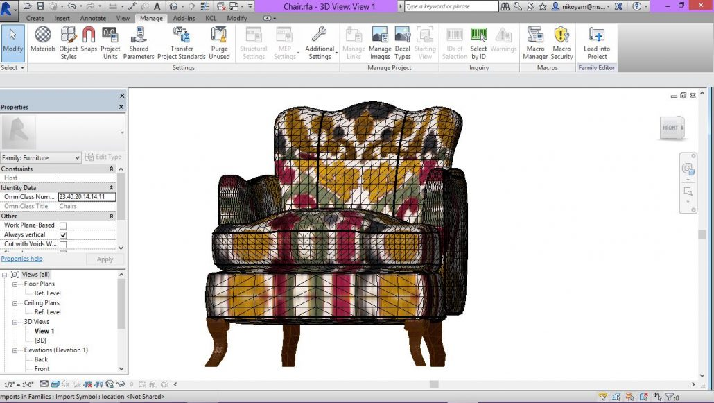 Elegant Armchair Revit Family for a Design Project