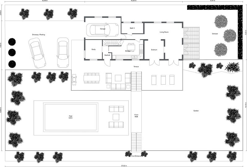 CAD Site Plan for an Architectural Project