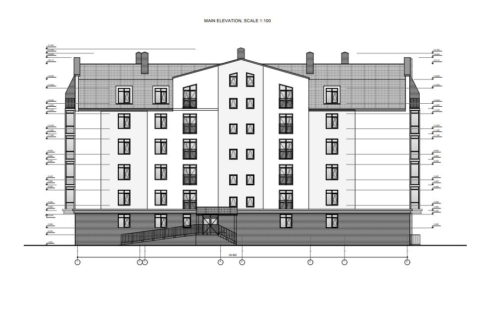 Elevation Drafing for an Architectural Project