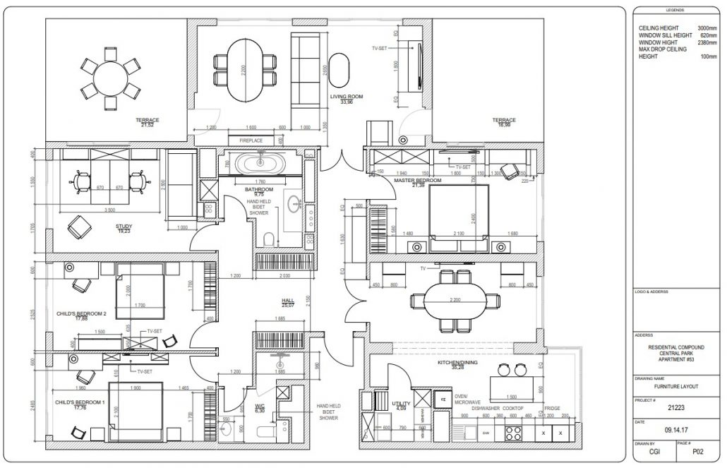 Furniture Layout for an Interior Design Project