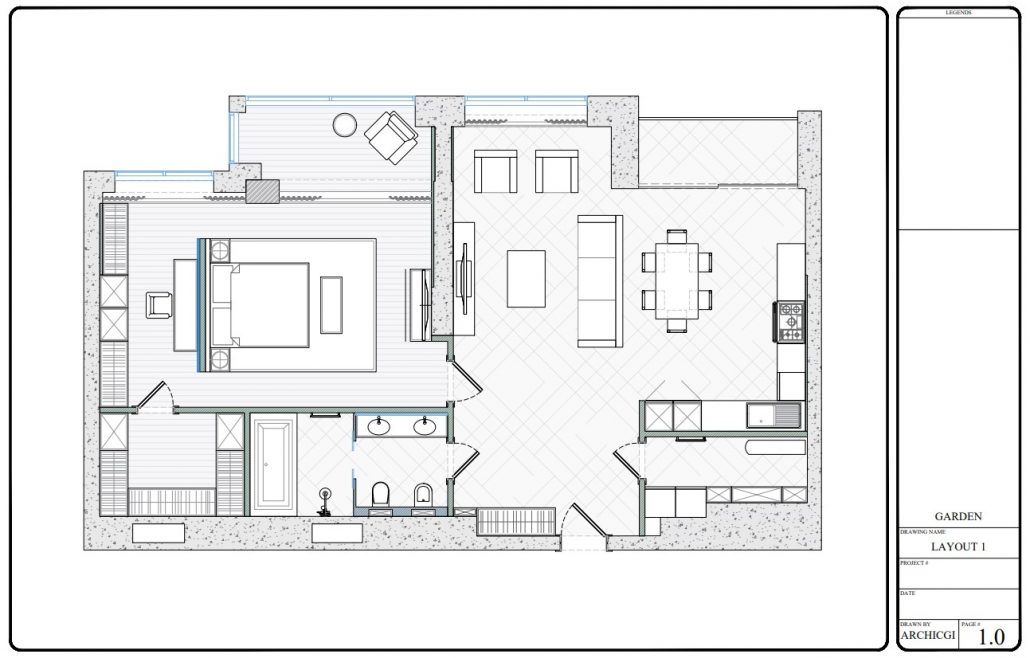 Furniture Layout for an Apartment Interior Design Project