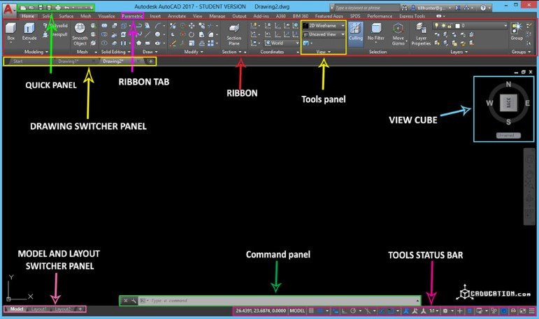 Drafting in AutoCAD and Interface