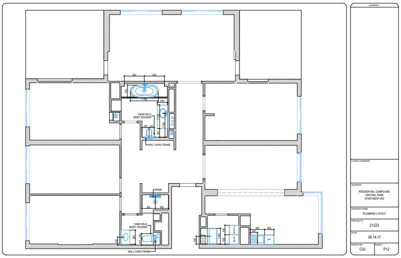 A Plumbing Layout for an Apartment Floor Plan