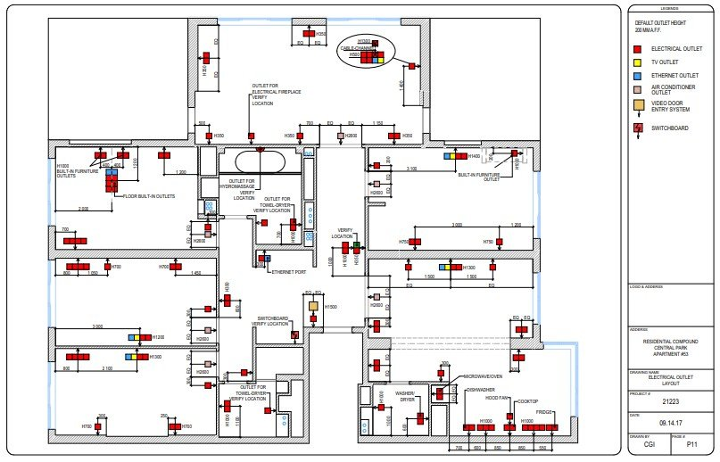 An Electric Outlet Layout for an Apartment
