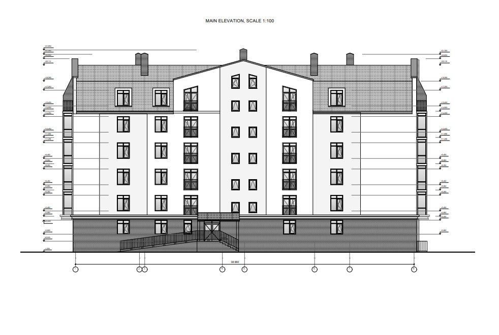 Elevation Drawing for an Architectural Project