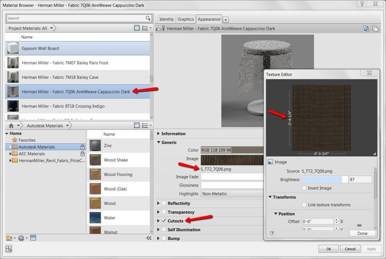 Revit evaluates materials needed for furniture 3d models