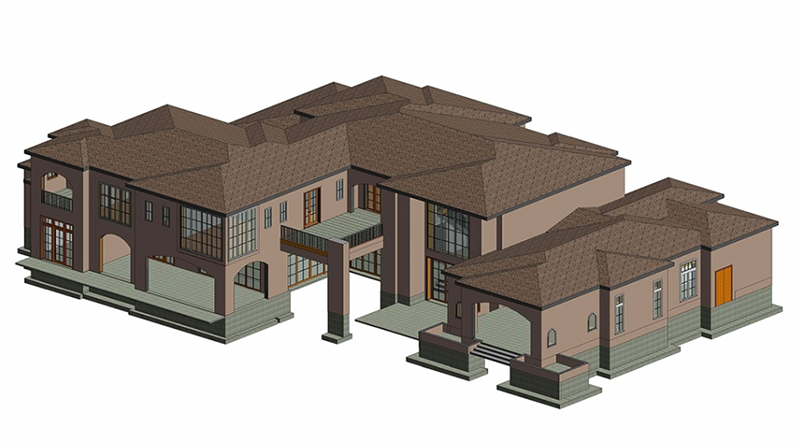 3D Model of CAD Revit Family With Various Architectural Elements