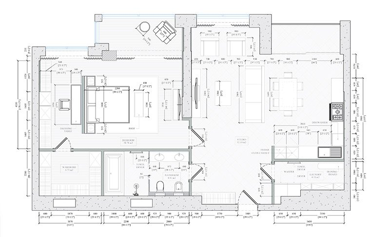 An Interior 2D CAD Drafting
