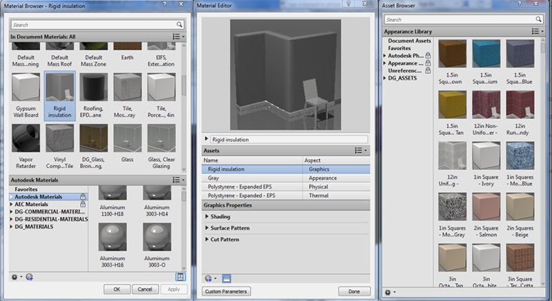 Selecting Revit Materials for 3D Render