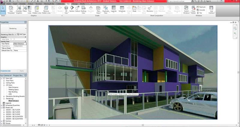 3D Render of a School Building