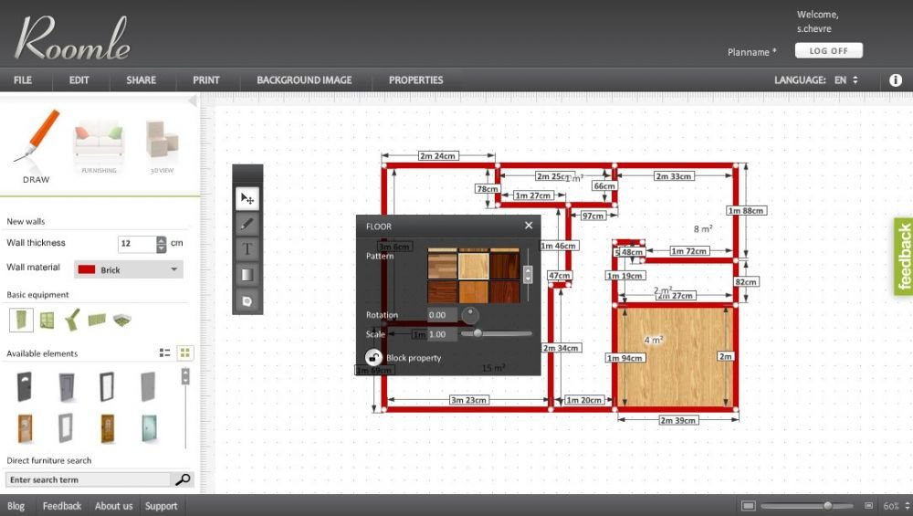 Tool for floor plan: Roomle