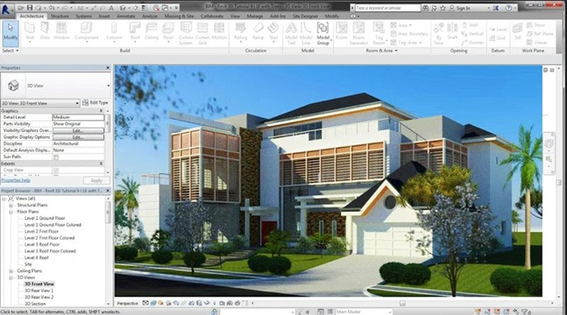 Revit 3D Render of a House
