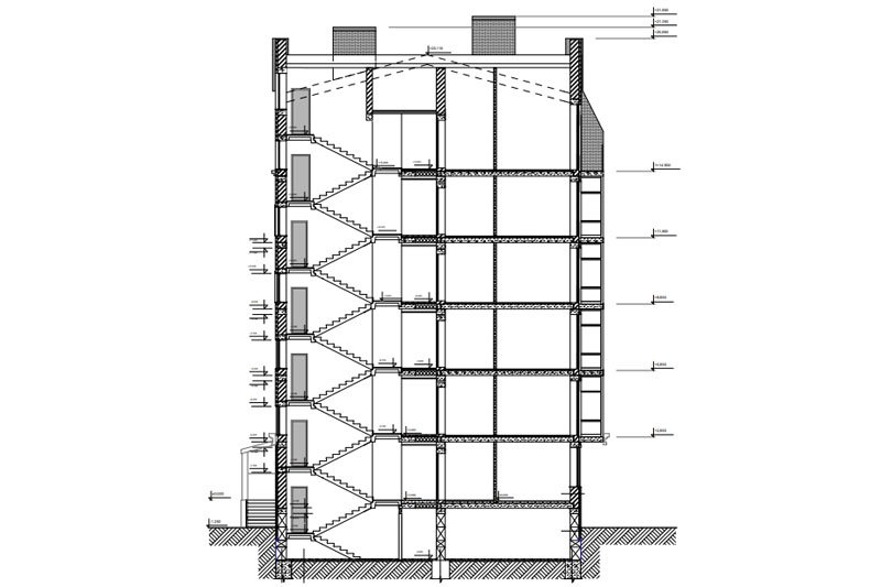 A Section Drawing for a Residential Architecture
