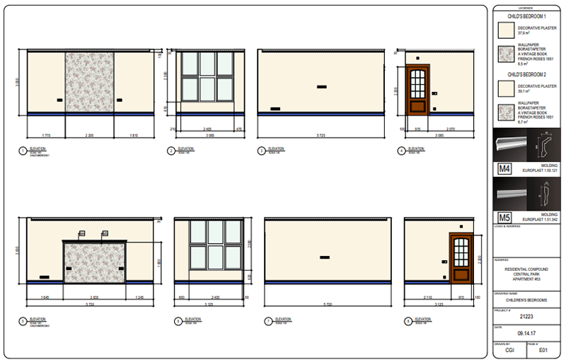 Floor Plans and Elevations with Finishing Materials