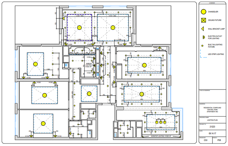 Lighting and Power Outlet CAD Plans
