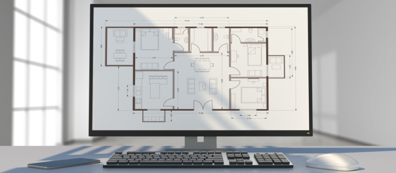 Computer Screen with an Architectural Drawing On It
